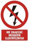 GC029 - Nie załączać urządzeń elektrycznych - znak bhp zakazujący