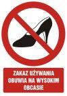 GC032 - Zakaz używania obuwia na wysokim obcasie - znak bhp zakazujący