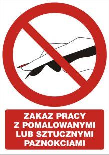 GC060 - Zakaz pracy z pomalowanymi lub sztucznymi paznokciami - znak bhp zakazujący
