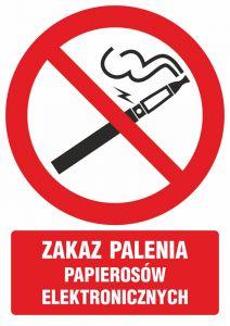 """GC070 - Zakaz palenia papierosów elektronicznych - znak bhp zakazujący - """"Nie"""" dla e-papierosów w miejscach publicznych"""