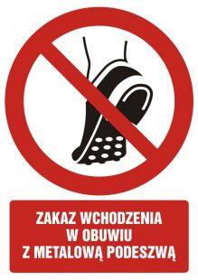 GC097 - Zakaz wchodzenia w obuwiu z metalowa podeszwą - znak bhp zakazujący