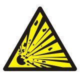 GDW002 - Ostrzeżenie- materiał wybuchowy - znak bhp ostrzegający - Substancje i mieszaniny samoreaktywne