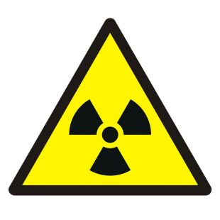 GDW003 - Ostrzeżenie przed materiałem radioaktywnym lub promieniowaniem jonizującym - znak bhp ostrzegający