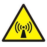 GDW005 - Ostrzeżenie przed promieniowaniem niejonizującym - znak bhp ostrzegający - Znaki BHP w miejscu pracy (norma PN-93/N-01256/03)