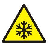 GDW010 - Ostrzeżenie przed niską temperaturą / warunkami zamarzania - znak bhp ostrzegający - Znaki BHP w miejscu pracy (norma PN-93/N-01256/03)