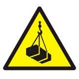 GDW015 - Ostrzeżenie przed wiszącymi przedmiotami (wiszącym ciężarem) - znak bhp ostrzegający - Plac budowy – znaki i tablice