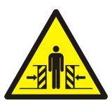 GDW019 - Ostrzeżenie przed zgnieceniem bocznym - znak bhp ostrzegający - Podstawowe pojęcia BHP
