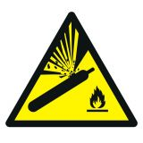 GDW029 - Ostrzeżenie przed butlami pod ciśnieniem - znak bhp ostrzegający - Gazy łatwopalne i aerozole – piktogramy CLP