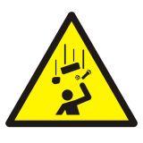 GDW035 - Ostrzeżenie przed spadającymi elementami - znak bhp ostrzegający - Organizacja stanowisk pracy a bezpieczeństwo pracowników