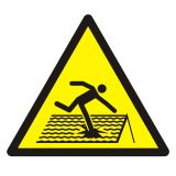 GDW036 - Ostrzeżenie przed kruchym dachem - znak bhp ostrzegający - Ostrzegawcze znaki BHP a zagrożenia w miejscu pracy