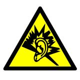 GE002 - Ostrzeżenie przed silnym hałasem - znak bhp ostrzegający - Warsztat samochodowy – bezpieczeństwo i znaki BHP