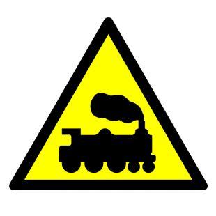 GE004 - Ostrzeżenie - rampa lub przejazd kolejowy - znak bhp ostrzegający