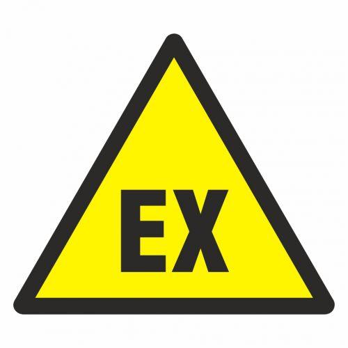 GE012 - Strefa zagrożenia wybuchem - znak bhp ostrzegający, informujący - Znaki antystatyczne, kopalnie