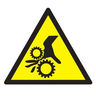 GE014 - Uwaga ! Wirujące elementy - znak bhp ostrzegający, informujący