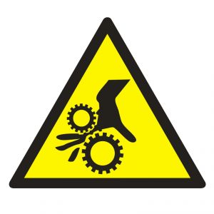 GE014 - Uwaga ! Wirujące elementy - znak bhp ostrzegający, informujący - Urządzenia ochronne przy maszynach