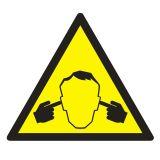 GE016 - Uwaga ! Hałas - znak bhp ostrzegający, informujący - Znaki BHP w miejscu pracy (norma PN-93/N-01256/03)