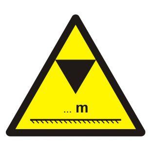 GE019 - Uwaga - ograniczenie wysokości - znak bhp ostrzegający, informujący