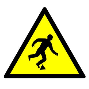 GE020 - Niebezpieczeństwo potknięcia się - znak bhp ostrzegający, informujący