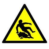 GE021 - Ostrzeżenie przed śliską powierzchnią - znak bhp ostrzegający - Magazynowanie odpadów medycznych