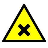 GE022 - Substancja szkodliwa lub drażniąca - znak bhp ostrzegający, informujący - Materiały niebezpieczne – ogólne informacje BHP