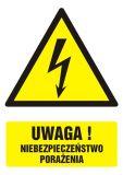 GF015 - Uwaga! niebezpieczeństwo porażenia - znak bhp ostrzegający, informujący - Znaki BHP w miejscu pracy (norma PN-93/N-01256/03)