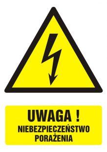 GF015 - Uwaga! niebezpieczeństwo porażenia - znak bhp ostrzegający, informujący