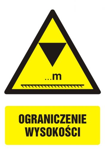 GF020 - Ograniczenie wysokości - znak bhp ostrzegający, informujący - Powierzchnia i wysokość pomieszczeń pracy