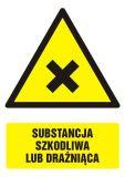 GF028 - Substancja szkodliwa lub drażniąca - znak bhp ostrzegający, informujący - Przepisy dot. składowania i stosowania materiałów niebezpiecznych