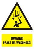GF029 - Uwaga! prace na wysokości - znak bhp ostrzegający, informujący - Prace na rusztowaniach powyżej 2 metrów