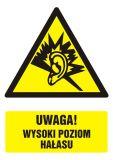 GF030 - Uwaga! wysoki poziom hałasu - znak bhp ostrzegający, informujący - Znaki BHP w miejscu pracy (norma PN-93/N-01256/03)