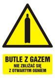 GF031 - Butle z gazem - nie zbliżać się z otwartym ogniem - znak bhp ostrzegający, informujący - Przepisy dot. składowania i stosowania materiałów niebezpiecznych