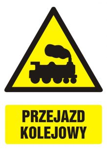 GF032 - Przejazd kolejowy - znak bhp ostrzegający, informujący