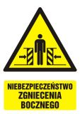 GF034 - Niebezpieczeństwo zgniecenia bocznego - znak bhp ostrzegający, informujący - Ostrzegawcze znaki BHP a zagrożenia w miejscu pracy