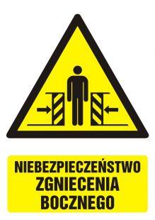 GF034 - Niebezpieczeństwo zgniecenia bocznego - znak bhp ostrzegający, informujący