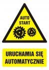 GF035 - Uruchamia się automatycznie - znak bhp ostrzegający, informujący