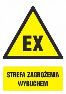 GF040 - Strefa zagrożenia wybuchem - znak bhp ostrzegający, informujący