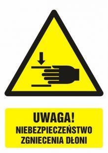 GF041 - Uwaga ! Niebezpieczeństwo zgniecenia dłoni - znak bhp ostrzegający, informujący