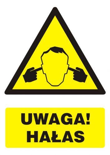 GF046 - Uwaga ! Hałas - znak bhp ostrzegający, informujący - Ochrona przed hałasem w miejscu pracy