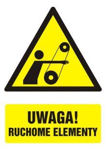 GF047 - Uwaga ! Ruchome elementy - znak bhp ostrzegający, informujący