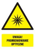 GF063 - Uwaga! Promieniowanie optyczne - znak bhp ostrzegający, informujący - Ostrzegawcze znaki BHP a zagrożenia w miejscu pracy