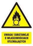 GF064 - Uwaga! Substancje o właściwościach utleniających - znak bhp ostrzegający, informujący - Substancje stałe utleniające