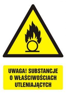GF064 - Uwaga! Substancje o właściwościach utleniających - znak bhp ostrzegający, informujący