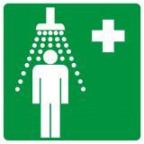 GG002 - Prysznic bezpieczeństwa - znak bhp informujący - Znaki BHP w miejscu pracy (norma PN-93/N-01256/03)