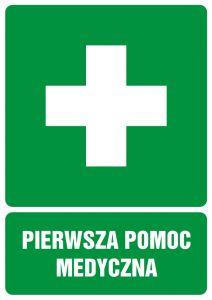 GI001 - Pierwsza pomoc medyczna - znak bhp informujący - Punkty pierwszej pomocy