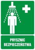 GI002 - Prysznic bezpieczeństwa - znak bhp informujący - Praca przy materiałach niebezpiecznych