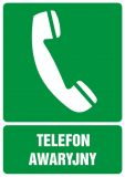 GI006 - Telefon awaryjny - znak bhp informujący - Znaki BHP w miejscu pracy (norma PN-93/N-01256/03)