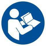 GJM002 - Przeczytaj instrukcję - znak bhp nakazujący - Bezpieczeństwo w szkole