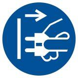 GJM006 - Nakaz odłączenia urządzenia od sieci elektrycznej - znak bhp nakazujący - Znaki BHP w miejscu pracy (norma PN-93/N-01256/03)