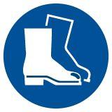 GJM008 - Nakaz stosowania ochrony stóp - znak bhp nakazujący - Znaki BHP w miejscu pracy (norma PN-93/N-01256/03)