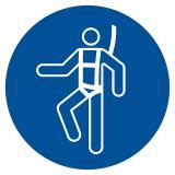 GJM018 - Nakaz stosowania szelek bezpieczeństwa - znak bhp nakazujący - Stocznia – bezpieczeństwo i higiena pracy